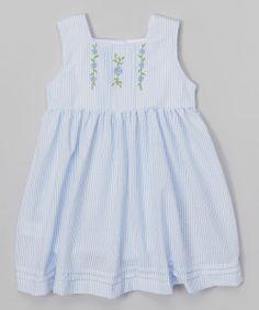 Blue Stripe Flower Babydoll Dress//