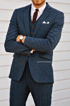 timex easy reader, blue suit, burgundy tie
