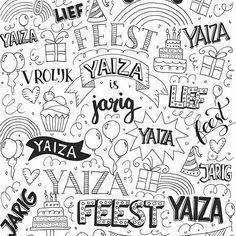 Speciaal voor een klein jarig vriendinnetje maakte ik dit inpakpapiertje.  #letterart #lettering #handlettering #handdrawn #handwritten #handmadefont #sketch #doodle #draw #tekening #illustrator #typspire #dailytype #typedaily #modernlettering #moderncalligraphy #quote #illustration #cadeaupapier #inpakpapier #party