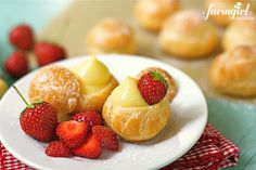 mini cream puffs with vanilla pastry cream, recipes from @Heather Baird of SprinkleBakes - posted from a farmgirl's dabbles