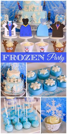 A Frozen girl birthday party with all the characters from the movie and snowflake cupcake toppers! See more party planning ideas at http://CatchMyParty.com!