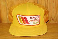 77a7adc23d5 TOYOTA OWNERS CLUB Original Retro Vintage 70s Yellow Mesh Trucker Snapback  Hat Car Promo Cap Japan Auto Old School Ballcap Avon Sportswear
