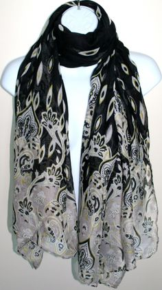 Black Summer Scarf - Inspired by Claire Jane, LLC