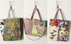 twobutterflies: How To Repurpose Scrap Fabric Into An Anthropologie Inspired Tote
