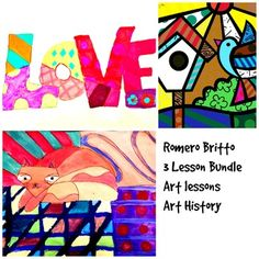 Art Lessons Romero Britto 3 Lesson Bundle Art Project with Art History - Giuditta Luddy Lessons For Kids, Art Lessons, Joy Art, Fun Arts And Crafts, 3 Arts, Teaching Art, Step By Step Instructions, Art History, Art Projects