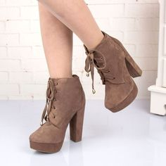 Fashion Suede Lace Up Warm Short Ankle Boots