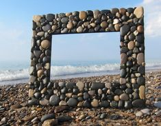 Beach Rock Picture Frame Brown/Black 5 x 7 Photo Beach Rocks, Beach Stones, Stone Pictures, Beach Pictures, Picture Stand, Picture Frames, Beach Gifts, House Warming, Xmas Sweaters