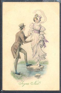 QP018 MM VIENNE Nr391 NOËL Xmas Elegant COUPLE crossing a river