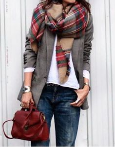 #street #style / layers + tartan scarf