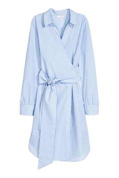 Хлопковое платье на запахе - Голубой/Белая полоска - Женщины   H&M RU