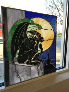 Gargoyle Stained Glass Panel Sun Catcher
