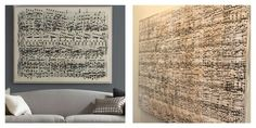Sheet music wall art.  Take your favorite song and create an oversized sheet music print.