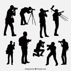 Photographer silhouettes in different positions Free Vector