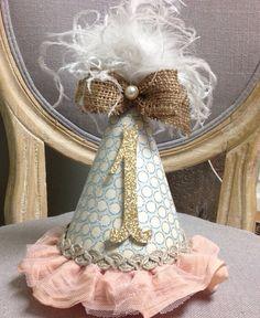 Shabby chic first birthday hat by MyLittleStinky on Etsy, $28.00