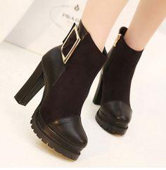 Block Heel Thicken Warm Women's Ankle Boots