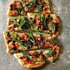 Grilled Purple Sprouting Broccoli and Bacon Pizza | This rich and hearty pizza is inspired by Tastebud, a food stand at the Portland Farmers' Market. | Cooking Light