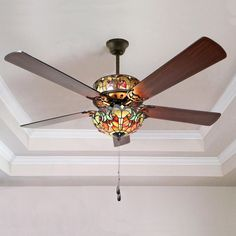 Tiffany Style Stained Glass Halston Ceiling Fan - Spice
