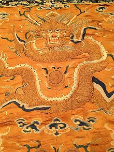 A Large and Rare Chinese Qing Dynasty Silk Embroidered Dragon Panel #2.