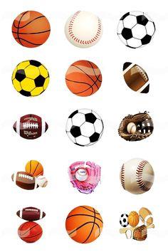Sports Balls (4) Digital Bottle Cap Images For Necklaces Pendants, Charms, Magnets, Bracelets