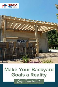 These pergolas make your backyard a perfect place to entertain family and friends or just enjoy a peaceful, relaxing afternoon. They are customizable and are easy to set up! #pergola #backyardretreat Cedar Pergola Kits, Wood Pergola, Diy Pergola, Red Cedar Lumber, Fabric Canopy, Backyard Retreat, Pergola Designs, Outdoor Entertaining, Outdoor Dining