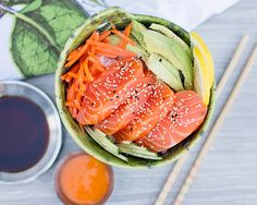 I love sushi so this is a dish that I make often. It makes sushi quick and easy. Seafood Recipes, Vegetarian Recipes, Healthy Recipes, Sweets Recipes, Sushi Bowl, Sushi Fish, Vancouver Food, Mackerel Recipes, How To Make Sushi