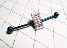Police Box Ear Barbell, inspired by Doctor Who and the TARDIS   CsCharms - Jewelry on ArtFire