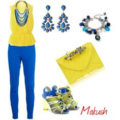 Blue-Yellow Outfit by makushs-jewellery on Polyvore featuring polyvore, fashion, style, STELLA McCARTNEY, Peter Pilotto, Maison Du Posh, White House Black Market, Amrita Singh, Sequin and skinny pants