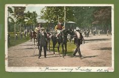 SOLD - 1907 Ready for the Race, Saratoga Springs Race Track NY. Antique Postcard, Horse $3.99