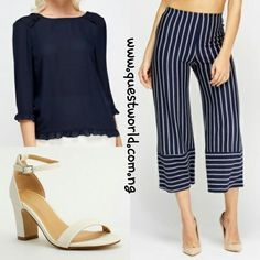 Top size 8/10 10/12 #6500 Cropped Trousers size 12 #6500 Shoes size 39 40 #8000 www.questworld.com.ng Spend 20k and get a FREE TOP! Pay on delivery in Lagos