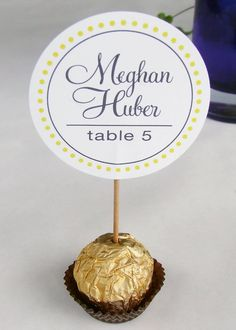(Pink dots, grey lettering, silver chocolate wrapper, white tissue cup) Unique Wedding Reception Ferrero Rocher Chocolate Truffles Escort, Place Cards, placecards,