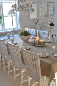 Dining Room. White, Grey, Black, Chippy, Shabby Chic, Whitewashed, Cottage, French Country, Rustic, Swedish decor Idea. ***Pinned by oldattic ***.