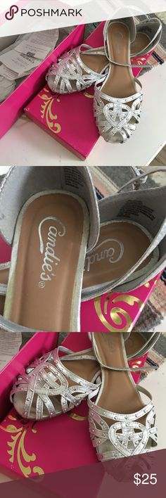Candies silver flats rhinestone studs size 8.5 Gently worn comes with original box Candie's Shoes Flats & Loafers