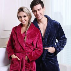 On Sale Men Women Luxury Winter Bathrobe Mens Warm Silk Flannel Long Kimono Bath Robe Male Bathrobes Lovers Night Dressing Gown Winter Kimono, Silk Bathrobe, Womens White Jeans, Maternity Sleepwear, Bath Robes For Women, Bridesmaid Robes, Flannel, Blue Grey, Fleece Fabric