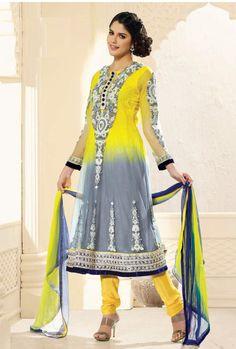 $113.50 Yellow Full Sleeve Net Long Anarkali Salwar Kameez 21036