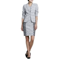 Kay Unger New York Snake-Print Jacket & Dress Set ($140) ❤ liked on Polyvore featuring dresses, gray multi, snake print dress, sheath dress, grey dress, long sleeve dresses and print sheath dress