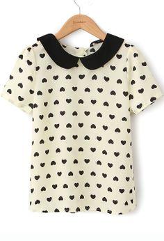 167d4a2626375 Heart-shaped print doll collar shirt Gola Redonda, Golas, Estampas, Peter  Blusa
