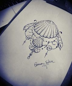 d73748edb Tattoo Seashell Tattoos, Beach Tattoos, Pretty Tattoos, Cute Tattoos,  Sternum Tattoo Design