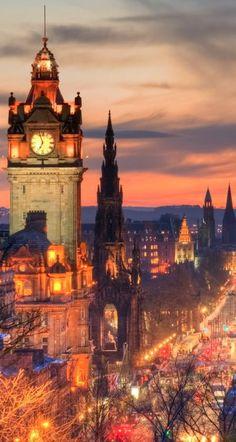 Balmoral Hotel clock tower in Edinburgh, Scotland..
