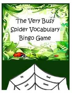 """I love the book """"The Very Busy Spider"""" by Eric Carle! This lesson uses spider webs to play the familiar game """"Bingo"""". Let your students cover words as you pick them, and the first person to fill in one triangle on their web wins. You can also ask your students to fill in one """"level"""" on the spider web, by moving left to right, which would require them to get 8 words to win."""