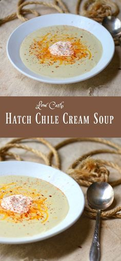Creamy, delicious and 3.2 net carbs! Low carb Hatch chile cream soup from Lowcarb-ology.com via @Marye at Restless Chipotle