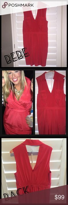 "Silk Bebe Dress! Must have! This dress is stunning. I bought it for a special occasion. Worn once and just dry cleaned. Deep plunge, beautiful neckline and back. Amazing coral color. Dual layered (attached slip) so nothing shows through. Pockets and pleating are so flattering. I paid $159 for this in the Bebe store in Scottsdale. Would be perfect for a special occasion or wedding. Was just above my knees but I'm 5'8"". Size large. bebe Dresses Midi"
