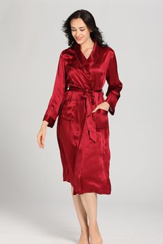 Delicately Designed #Red #Silk #Robe for #women Made of Lilysilk's signature luxury 22mm #Mulberry silk from China