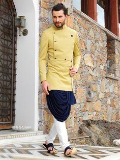 Designer Terry Rayon Blue Kurta With Stylish Mustard color Koti #rajwadi #Indowestern #trendy #mensfashion #menswear #weddingparty #designeroutfits #menswearstyle