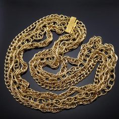 Vintage Couture Gold Chain Necklace Massive Estate Jewelry Signed O.S