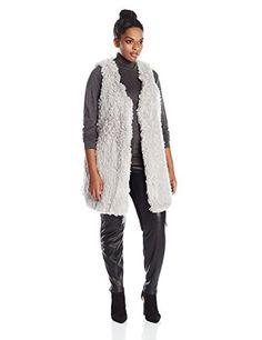 Melissa McCarthy Seven7 Women's Plus-Size Curly Faux Fur Vest