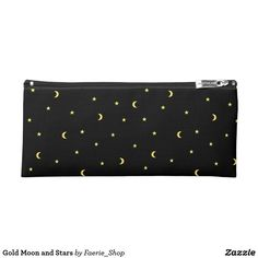 Gold Moon and Stars Pencil Case #night #black #gold #luxurious #moon #strary #stars #faerieshop #magic #mysterious #hipster #witchy #cool #halloween #occult #space #abstract #simple #magical #gothic #minimalism #vector #seamless #repeat #sale #accessories #zazzle #back to school #accessories