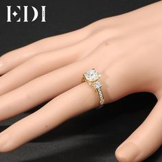 Jewelry & Accessories Honest Ainuoshi 10k Solid Yellow Gold Bridal Ring 1.25 Ct Round Cut Sona Diamond Wedding Engagement Jewelry 2 Rows Drills Hollowed Band