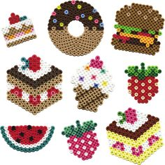fruits, and grossery, hama beads