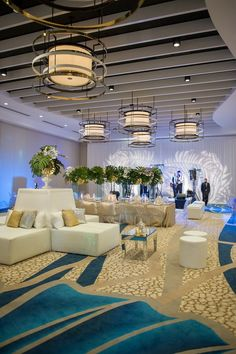 Modern White South Beach Inspired Wedding Reception Decor With Lounge Furniture