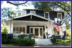 delisciously wonderful, saturated gorgeous, Tampa two stor… Bungalow Exterior, Craftsman Exterior, Bungalow Homes, Cozy Cottage, Cottage Living, Navy Houses, Exterior Paint Colors, House Painting, House Colors